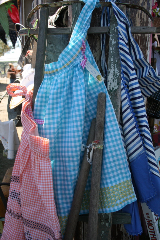 Two women aprons