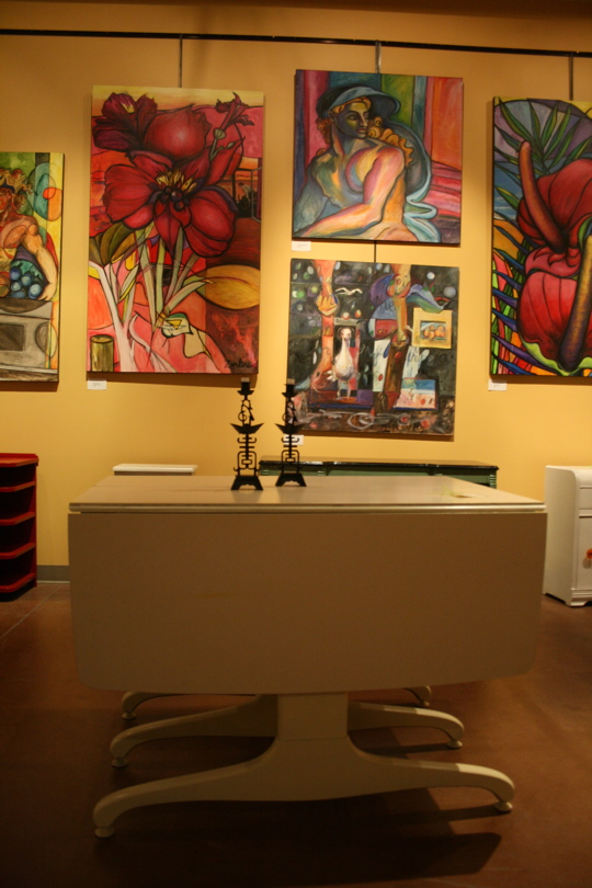Antwiqued table and art