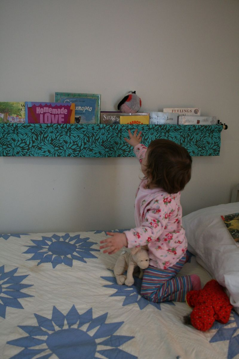 Hanging book display reach