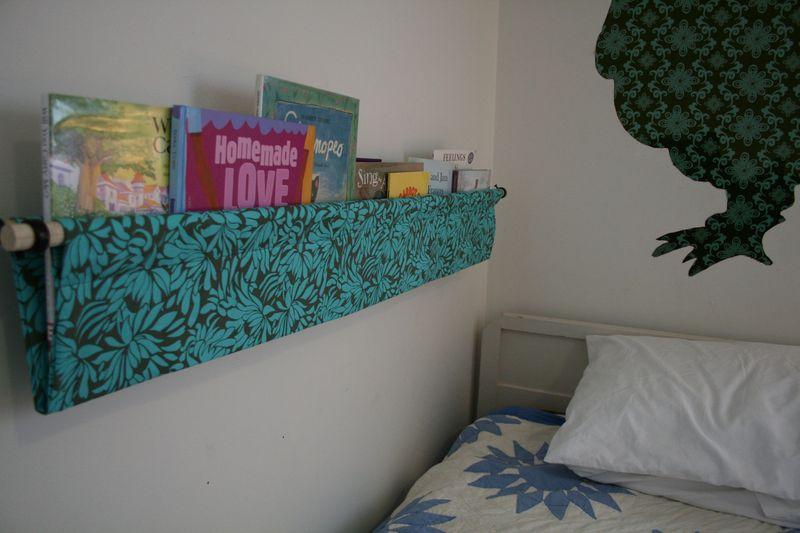 Hanging book display side