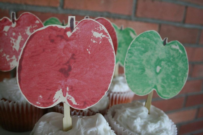 Apple print cupcake toppers 1