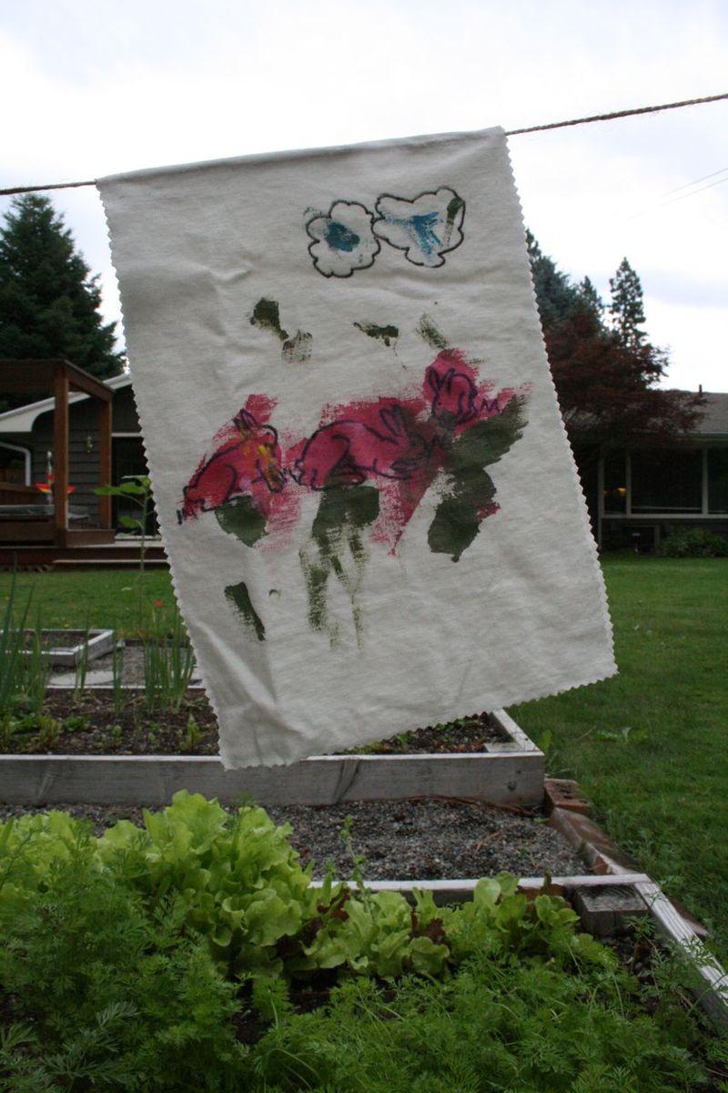 Garden banner bunnies