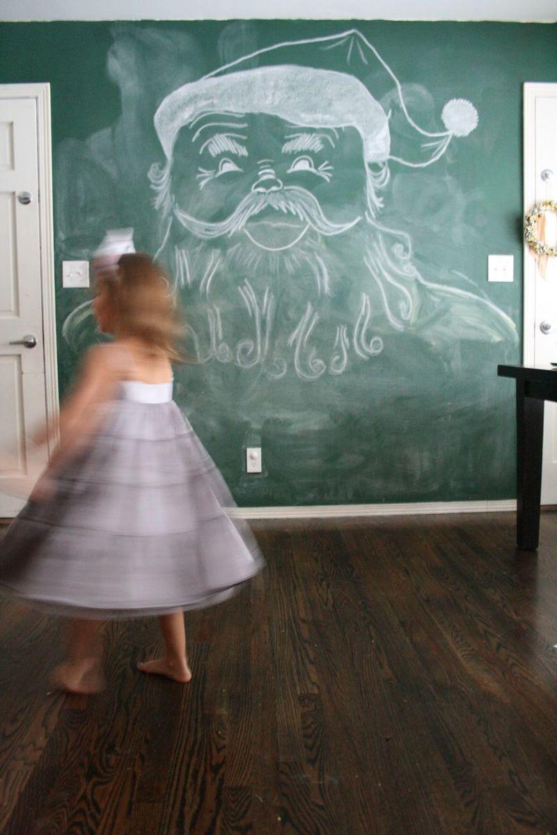 Chalkboard wall santa